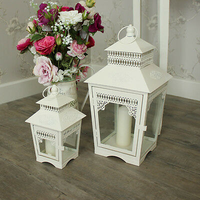 Pair of cream metal tealight candle lanterns shabby ornate chic vintage wedding
