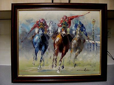framed, impressionist oil on canvas, Horse Racing (Horses), signed ?