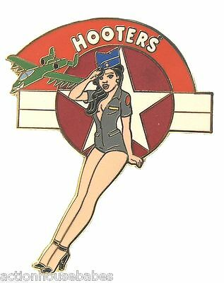 Hooters Restaurant Collectable Military Air Force Girl Saluting Lapel Pin