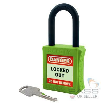 Insulated / Lockout Padlock - NYLON Shackle - Key Different (Green)
