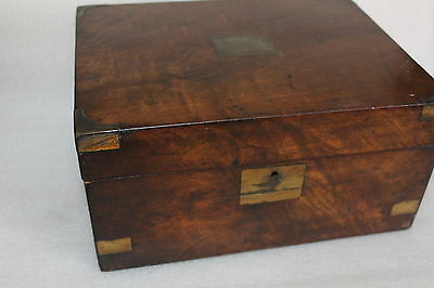Antique Mahogany Writing Slope Box With Brass Banding