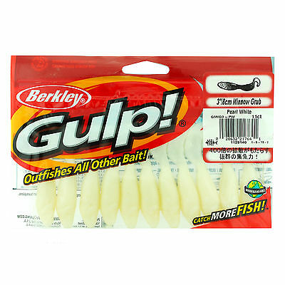 "Berkley Gulp! Minnow Grub 3"" Pearl White 1129140"