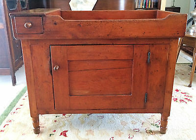 Early American Country Pine Dovetailed Dry Sink Cabinet 1800's