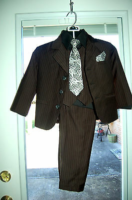 Boy's black pinstripe suit, Littile Stallion,  6 pieces, size 4