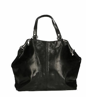borsa bag a mano tracolla da donna woman pelle made in italy nero nera 80055