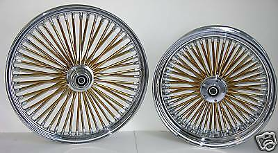MAMMOTH FAT 52 GOLD SPOKE WHEELS HARLEY 21x3.5 16x3.5 SOFTAIL HERITAGE DELUXE