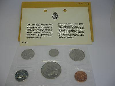 1970 Royal Canadian Mint Coin Set Canada Dollar 50 25 10 5 1 Cent Silver COA