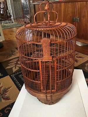 """LARGE Antique Vintage Brown Chinese Bamboo Wooden Hanging Bird Cage 29"""" x 15"""""""
