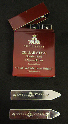 STAINLESS STEEL Collar Stays By SWISS STAYS Adjustable Collar Stay System NEW