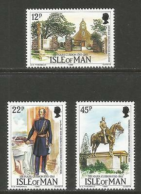 Isle of Man 1985 Gen. Sir Mark Cubbon/India--Attractive Topical (291-93) MNH
