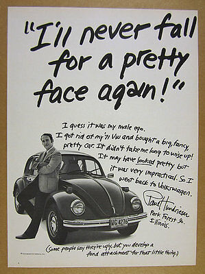 1973 Volkswagen VW Beetle 'never fall for a pretty face again' vintage print Ad