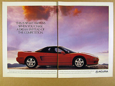 1990 Acura NSX red sports car photo vintage print Ad
