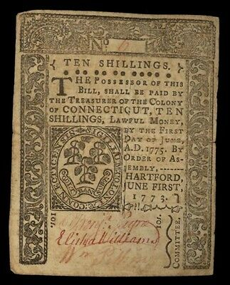 ICOIN June 1, 1775 Connecticut Ten Shilling Colonial Note
