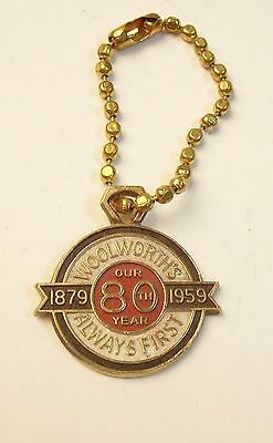 Vintage WOOLWORTH'S 80 Yr Anniversary 1879-1959 Key Chain