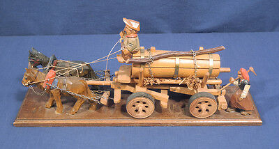 Vtg ANRI Wooden Hand Carved Horse Drawn Beer Water Wagon Driver Peasant Woman
