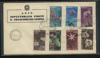 Somalia  nice cachet  first day  cover flowers   1955  198-204     MS0307