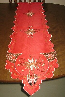 Cut-out Holiday Table Linens Red w/ Gold embroidery  Runner, Topper or Chair Cv