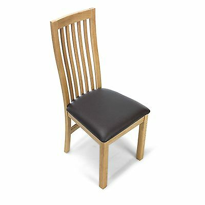 Holmfield Oak Furniture Set Of Six Leather Seat Dining Chairs