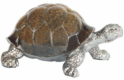 5.5 Inch Walking Land Turtle Figurine Display, Brown and Silver Color