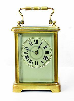 Antique French Brass Carriage Clock, Serviced & Working Well, Silver Face