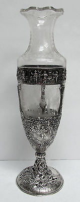 "FANTASTIC 1880's GERMAN SILVER ON ENGRAVED CRYSTAL 14"" FLOWER VASE"