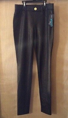 NWT INC Womens Black W/ Gold Sparkle Regular Fit Skinny Leg Leggings Pants XS