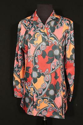 Rare Vintage French 1970's Brown & Black  Poly  Print Blouse Size Large
