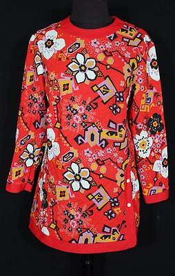 Rare Vintage French 1970's Red Floral  Poly  Print Blouse Size Large