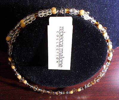 48 New Rebecca Malone Beaded Chokers Amber, and Clear Crystal, 1 size fits all