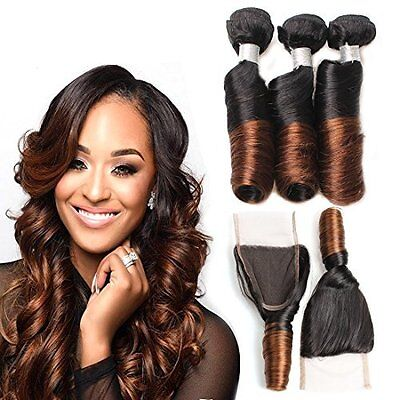 Hair Bundles with Closure Virgin Remy Curls Brazilian 2 Tone Ombre 12 14 16 +12