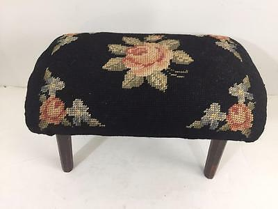 Antique vintage needlepoint footstool bench roses wooden legs embroidered