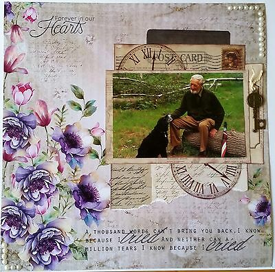 12 x 12 Handmade Scrapbook Page - Forever in our Hearts