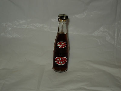 "Vintage Mini  3"" Bottle Of  Dr. Pepper Soda w/ Metal Cap"