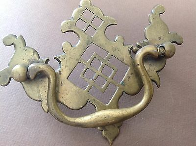 3 Antique Victorian Chippendale Solid Brass Drawer Handles Pulls