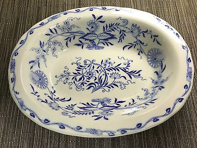 Antique Furnivals Flow Blue Onion Serving Bowl