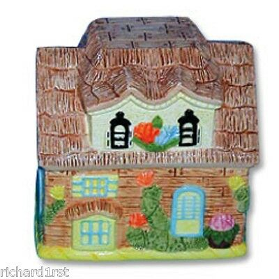 "Ceramic Cookie Snack Jar Wood House Building 7"" tall NEW"