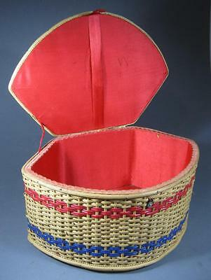 Vintage/retro 50s wicker sewing basket red satin lining