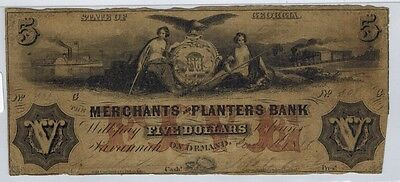 1846 Georgia THE MERCHANTS AND PLANTERS BANK $5 Obsolete Currency