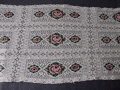 Antique Hand Embroidery Colored Flowers Creamy Silky Huge Lace Trim 26 X 10 1/2""