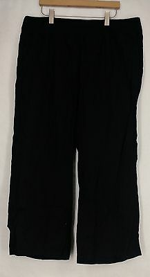 Calvin Klein Plus Size Pants 1X Pull On Wide Leg Linen Black NEW