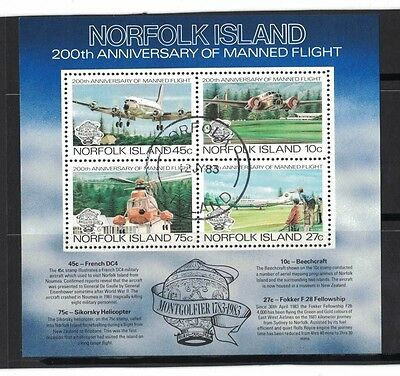 1983 Norfolk Island Manned Flight MS SG 308 fine used
