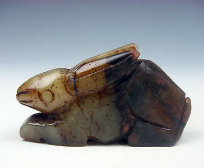 Vintage Nephrite Jade Hand Carved Sculpture Lovely Seated Rabbit #03131608