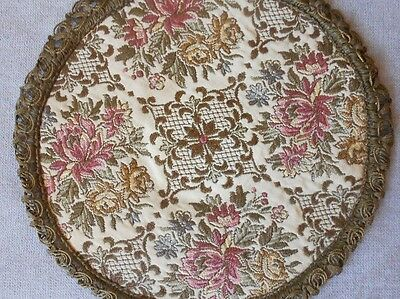 Vintage european NICE Embroidery gilded FLORAL Round PIECE DOILY PLACEMAT