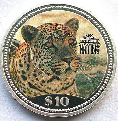 Namibia 1995 Leopard 10 Dollars Silver Coin,Proof