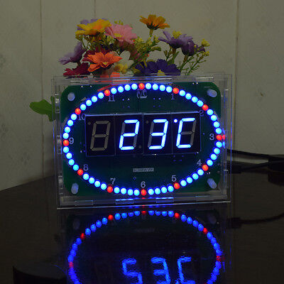 "6"" Rotating Digital Clock Temperature Display Oval LED Electronic Light Kit Box"