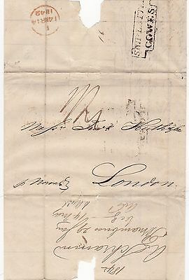 * 1842 FRAMED STEP DOWN SHIP LETTER COWES PERNAMBUCO BRAZIL TO FREDr HUTH LONDON