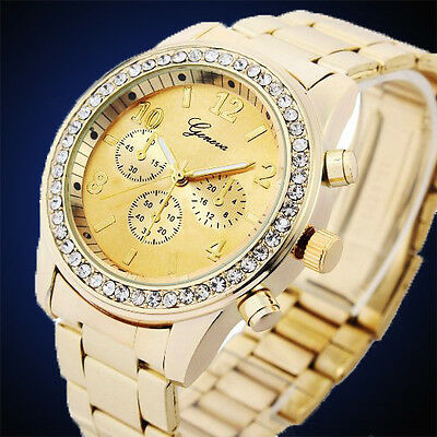 Luxury Ladies Women Girl Crystal Diamond Steel Bracelet Quartz Wrist Watch New