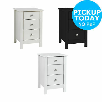 Collection Osaka 3 Drawer Bedside - Choice of Black / Grey / White. From Argos