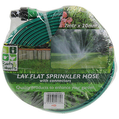 7m x 20mm Lay Flat Lawn Garden Water Sprinkler Hose Pipe With Green Connectors