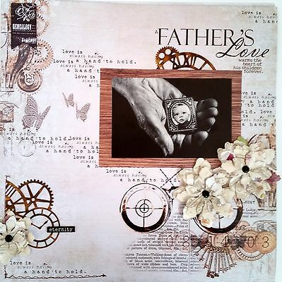 12 x 12 Handmade Scrapbook Page - A Father's Love